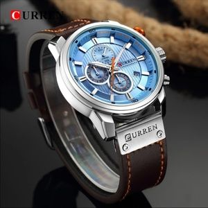 Stainless Steel Men's Leather Analog Watch